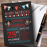 Chalk Effect Pirate Bunting Children's Birthday Party Invitations