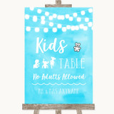 Aqua Sky Blue Watercolour Lights Kids Table Customised Wedding Sign