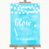 Aqua Sky Blue Watercolour Lights Let Love Glow Glowstick Wedding Sign