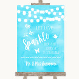 Aqua Sky Blue Watercolour Lights Let Love Sparkle Sparkler Send Off Wedding Sign
