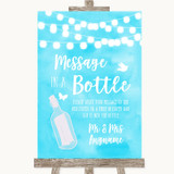 Aqua Sky Blue Watercolour Lights Message In A Bottle Customised Wedding Sign