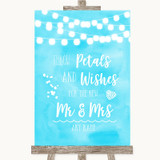 Aqua Sky Blue Watercolour Lights Petals Wishes Confetti Wedding Sign