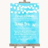 Aqua Sky Blue Watercolour Lights Photo Guestbook Friends & Family Wedding Sign