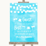 Aqua Sky Blue Watercolour Lights Photo Prop Guestbook Customised Wedding Sign