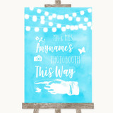 Aqua Sky Blue Watercolour Lights Photobooth This Way Left Wedding Sign