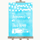 Aqua Sky Blue Watercolour Lights Photobooth This Way Right Wedding Sign