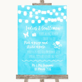 Aqua Sky Blue Watercolour Lights Pick A Prop Photobooth Wedding Sign