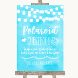 Aqua Sky Blue Watercolour Lights Polaroid Guestbook Customised Wedding Sign