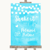 Aqua Sky Blue Watercolour Lights Polaroid Picture Customised Wedding Sign