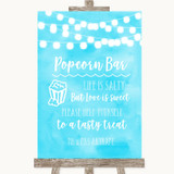 Aqua Sky Blue Watercolour Lights Popcorn Bar Customised Wedding Sign