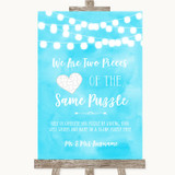 Aqua Sky Blue Watercolour Lights Puzzle Piece Guest Book Wedding Sign