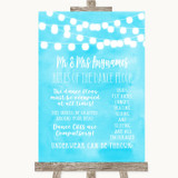 Aqua Sky Blue Watercolour Lights Rules Of The Dance Floor Wedding Sign