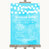 Aqua Sky Blue Watercolour Lights Rules Of The Wedding Customised Wedding Sign