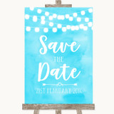 Aqua Sky Blue Watercolour Lights Save The Date Customised Wedding Sign