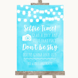 Aqua Sky Blue Watercolour Lights Selfie Photo Prop Customised Wedding Sign