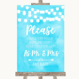 Aqua Sky Blue Watercolour Lights Share Your Wishes Customised Wedding Sign