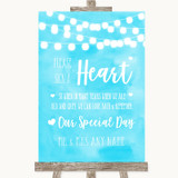 Aqua Sky Blue Watercolour Lights Sign a Heart Customised Wedding Sign