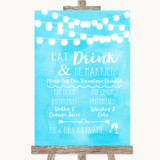 Aqua Sky Blue Watercolour Lights Signature Favourite Drinks Wedding Sign