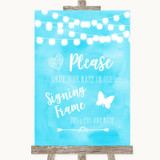 Aqua Sky Blue Watercolour Lights Signing Frame Guestbook Wedding Sign