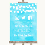 Aqua Sky Blue Watercolour Lights Social Media Hashtag Photos Wedding Sign