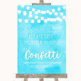 Aqua Sky Blue Watercolour Lights Take Some Confetti Customised Wedding Sign