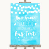 Aqua Sky Blue Lights Thank You Bridesmaid Page Boy Best Man Wedding Sign