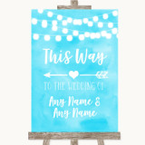 Aqua Sky Blue Watercolour Lights This Way Arrow Left Customised Wedding Sign
