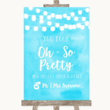 Aqua Sky Blue Watercolour Lights Toilet Get Out & Dance Wedding Sign