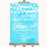 Aqua Sky Blue Watercolour Lights Toiletries Comfort Basket Wedding Sign