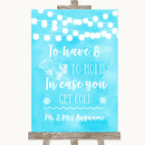 Aqua Sky Blue Watercolour Lights Wedding Blanket Scarf Customised Wedding Sign
