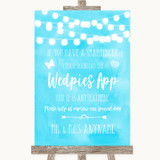 Aqua Sky Blue Watercolour Lights Wedpics App Photos Customised Wedding Sign