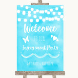 Aqua Sky Blue Watercolour Lights Welcome To Our Engagement Party Wedding Sign