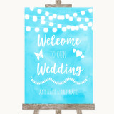 Aqua Sky Blue Watercolour Lights Welcome To Our Wedding Sign