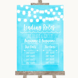 Aqua Sky Blue Watercolour Lights Who's Who Leading Roles Wedding Sign