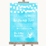 Aqua Sky Blue Watercolour Lights Wishing Tree Customised Wedding Sign