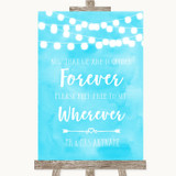 Aqua Sky Blue Watercolour Lights Informal No Seating Plan Wedding Sign