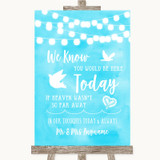 Aqua Sky Blue Watercolour Lights Loved Ones In Heaven Customised Wedding Sign