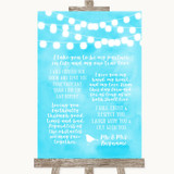 Aqua Sky Blue Watercolour Lights Romantic Vows Customised Wedding Sign