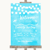 Aqua Sky Blue Watercolour Lights Welcome Order Of The Day Wedding Sign