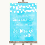 Aqua Sky Blue Watercolour Lights Wishing Well Message Customised Wedding Sign