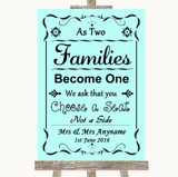 Aqua As Families Become One Seating Plan Customised Wedding Sign