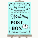 Aqua Card Post Box Customised Wedding Sign