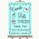 Aqua Cards & Gifts Table Customised Wedding Sign
