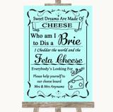 Aqua Cheese Board Song Customised Wedding Sign