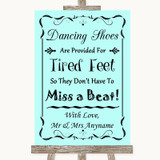 Aqua Dancing Shoes Flip-Flop Tired Feet Customised Wedding Sign