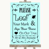 Aqua Fingerprint Tree Instructions Customised Wedding Sign