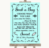 Aqua Grab A Bag Candy Buffet Cart Sweets Customised Wedding Sign