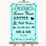 Aqua Guestbook Advice & Wishes Gay Customised Wedding Sign