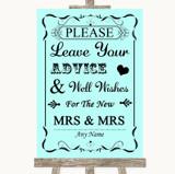 Aqua Guestbook Advice & Wishes Lesbian Customised Wedding Sign