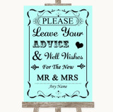 Aqua Guestbook Advice & Wishes Mr & Mrs Customised Wedding Sign